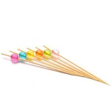 Пика бамбук Кристал круглые цветные 10см. (1уп.х100шт.)
