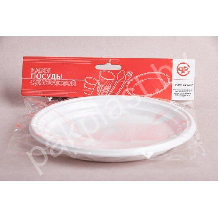 Набор посуды одноразовой Набор тарелок пластиковых д.20,5 см.-1 секц. 4813713000474