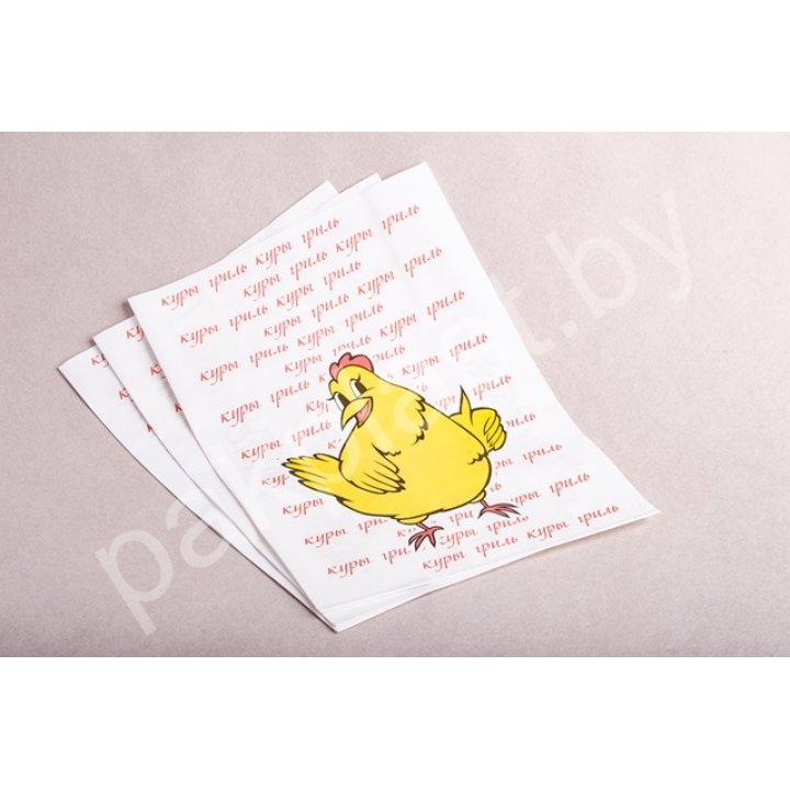 Пакет бумажный 14+10х32см. с печатью для кур-гриль с ПНД